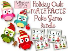HOLIDAY Owl Poke MATH FACTS Bundle - Poke games are a creative, simple, self-checking way for students to practice their math facts. And the cute holiday owl design is perfect for the Christmas season. My students love them! $