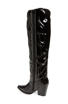 Jeffrey Campbell Amigos Over The Knee Western Boot In Black Western Boots, Cowboy Boots, Jeffrey Campbell, Black Boots, Westerns, Calves, High Heels, Silhouette, Shopping