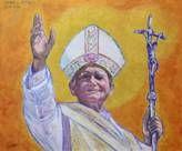 Papa Giovanni Paolo II. Acrilico su tela, 50x60.