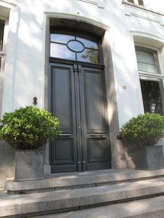 Grey front double doors with transom