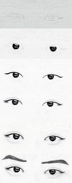 """"" Step by step: EXO Chanyeol eyes by hunniecreeper on deviantART """" Paso a paso: ojos EXO Chanyeol de hunniecreeper en deviantART """" Realistic Eye Drawing, Drawing Eyes, Kpop Drawings, Pencil Drawings, Eye Drawing Tutorials, Drawing Techniques, Eye Sketch, Exo Fan Art, Asian Eyes"