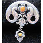 BERNARD HERTZ Skonvirke silver and amber brooch.