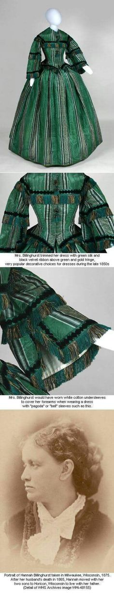 1857 Promenade Dress: Curators' Favorites: Museum Online Collections from the Wisconsin Historical Museum This is the basis for Simplicity 3727 Victorian Women, Victorian Fashion, Vintage Fashion, Victorian Era, Victorian Party, Punk Fashion, Historical Costume, Historical Clothing, Historical Society