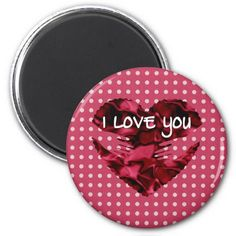 Red White Polka dot and Heart in hands I Love You Magnet by #PLdesign #ValentinesDay #ValentinesGift -- 15% OFF all orders!