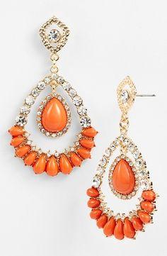 Tasha Teardrop Earrings Orange/ Clear/ Gold from Nordstrom on Catalog Spree