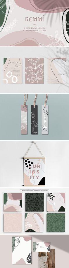 Remmí – Hand Drawn Modern Graphics by Feather & Sage Design on Creative Market - Modern Fleur Design, Graphisches Design, Logo Design, Graphic Design Branding, Identity Design, Visual Identity, Layout Design, Packaging Design, Identity Branding