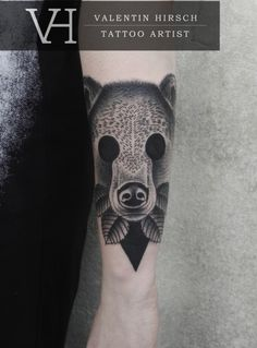 Valentin Hirsch bear http://valentinhirsch.com/ #dotwork #tattoo