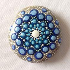 Bright Blue Dot Art Mandala Painted Stone Blue by CreateAndCherish