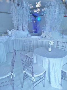 Winter Wonderland Cocktail Party | We used a white tent, white carpeting, white crush linen and ice ...