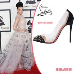 Katy Perry in Christian Louboutin Spring 2014 Bollywood Boulevard Embellished PVC Pumps - ShoeRazzi