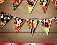 Top Selling Invitations on Etsy & Popular Printables by ThePrintableOccasion Classic Mickey Mouse, Mickey Minnie Mouse, Pennant Banners, Bunting Banner, Polka Dot Birthday, 2nd Birthday, Mickey Clubhouse, Happy Birthday Banners, Red Black
