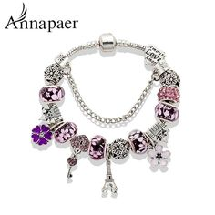 New Fashion Mix Style Charm Bracelet for Women Antique Silver Murano Glass Beads #Unbranded