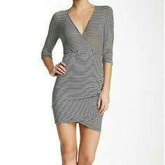 Lush side ruched body con dress New with tags Surplice neck  3/4 length sleeves  Partially lined Approx. 34 inches in length 96% rayon 4% spandex  Lining: 100% polyester Lush Dresses Long Sleeve