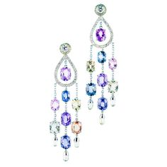 Natural Sapphire Diamond Briolette Chandelier Earring Jackets