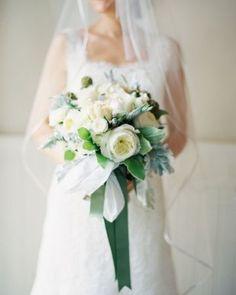 REVEL: Elegant Wedding Bouquet. I like the ribbon.