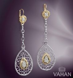 Have a sneak peek at our new teardrop, dangle earrings like the ones worn by Brooke Burke and Jessica Simpson! These feature our G Color diamonds mixed with 14k Gold and Vahan's signature Sterling Silver beading.