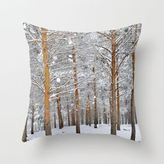 WANT THIS!!!  Deep forest. Snow Throw Pillow by Guido Montañés - $20.00
