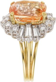 Padparadscha Sapphire, Diamond, Gold Ring This setting would be beautiful with any colored stone in the middle.