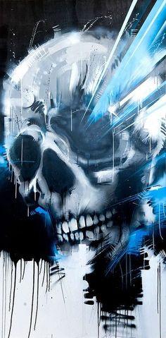 skull painting, sci fi elements
