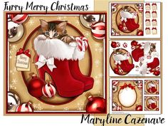 Furry Merry Christmas by Maryline Cazenave 3 page mini kit including 7x7 topper decoupage blank insert 2 gift tags and 8 greeting tiles Christmas Wishes Merry Christmas Season Greetings Ho Ho Ho Have a Jolly Christmas Especially for You on Christmas Sent with Love on Christmas Merry Christmas and Happy New Year  and one blank.The kit features a cute tabby kitten in womens Santa boots.