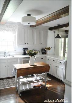 dear lillie kitchen makeover-- white cabinets, dark floors, vintage modern