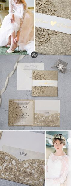 Exquisite Beauty champagne gold glitter tri-fold laser cut pocket wedding invitations with belly band EWWS224