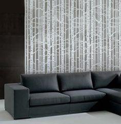 birch tree stenciled wall