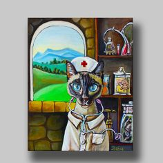 Oil painting of a siamese cat in nurse uniform  by KissEveArt