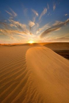 Atardecer en las dunas de Maspalomas (Gran Canaria) España