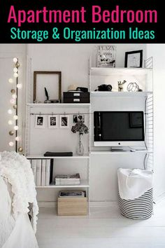 small bedroom and apartment bedroom storage ideas small bedroom and apart. small bedroom and apart Small Living Room Storage, Small Apartment Organization, Small Space Bedroom, Small Bedrooms, Small Storage, Small Bedroom Hacks, Apartment Hacks, Apartment Interior, Apartment Decoration