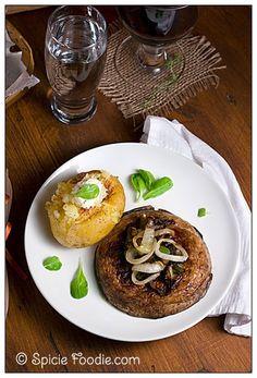 Vegan; Recipe; recipes; portabello mushroom; portabella mushroom; mushroom; mushroom steak; steak; onion; baked potato; healthy; low fat; low carb; easy; fast; vegetarian; Spicie Foodie