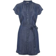 Oasis Relaxed Shirt Dress, Denim (929.870 IDR) ❤ liked on Polyvore featuring dresses, shirt-dress, denim dress, knee-length dresses, denim maxi dress and shirt dress