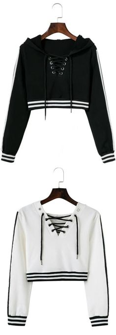 26a135eae113a Up to 80% OFF! Lace Up Striped Cropped Hoodie. Zaful