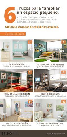 6 trucos y consejos para ampliar espacios pequeños. #decoracion #consejos #trucos #infografia #muebleslufe #madera