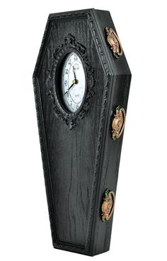 Black Classic Gothic Coffin Wall Clock Halloween Home Decor