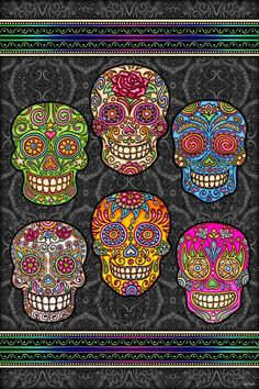 """Totally transform the look of any room with this vibrantly colored Art Tapestry featuring the original art of Dan Morris. Dan Morris Art Tapestry Wall Hangings are especially designed for bedrooms, dorm rooms and play rooms. These smaller tapestries can be combined with larger tapestries to add vibrantly color art to any wall in any room. Title: """"Sugar Skulls"""" by Dan Morris • Tapestry Wall Hanging • 30""""X45"""" inches • Super high resolution 100% polyester Art fabric • Perfect for dorm rooms…"""