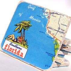 Vintage Florida Map Stone Coasters #maps #home #florida