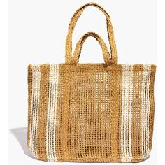 MADEWELL The Corsica Straw Beach Tote ($50) ❤ liked on Polyvore featuring bags, handbags, tote bags, vintage canvas stripe, woven tote bags, straw tote beach bag, heavy duty tote, straw tote bags and striped tote bag