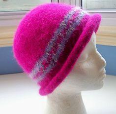 Hand knitted boiled wool felt hat fuchsia pink by SpinningStreak