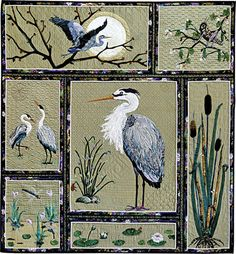 Heron Happiness - 3rd place AQS Paducah 2011 Home machine quilting