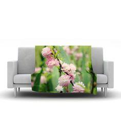 "Beth Engel ""The Best Things in Life Are Pink"" Green Pink Fleece Throw Blanket"