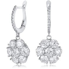 Neiman Marcus Diamonds 18k White Gold Flower Drop Earrings (16 839 745 LBP) ❤ liked on Polyvore featuring jewelry, earrings, 18k earrings, 18k diamond earrings, flower earrings, 18 karat gold earrings and clear crystal drop earrings