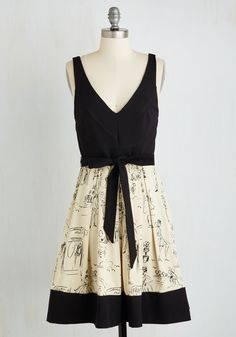 Marseilles Memories Dress. Its easy to reminisce about that holiday in southern France when youre clad in this black and beige dress from Coconinno by Eva Franco. #multi #modcloth
