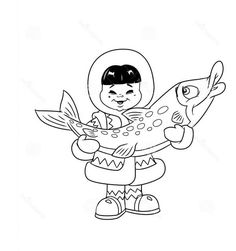 An Eskimo Boy Holding Big Fish Coloring Page : Color Luna Online Coloring Pages, Coloring Pages For Girls, Fish Coloring Page, Free Coloring, Wood Burning Tips, Polo Norte, Big Fish, The Last Airbender, Coloring Sheets