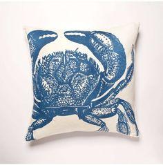 Thomas Paul Crab Linen Pillow - Aqua
