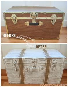 Travel Trunk  -Grain Sack Stripes - Makeover - Before and After - artsychicksrule.com #chalkpaint #coco