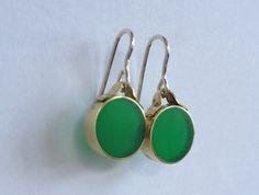 Green brass and resin earrings on sterling silver hooks- handmade.