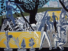 City Nest by Michael Kirkman   linocut