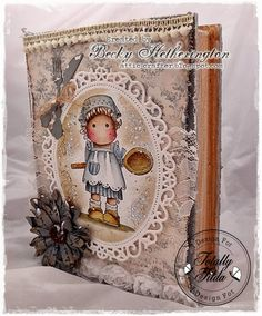 Hi everyone, I'm here today with my creation for the 'Food Glorious Food' challenge at Totally Tilda . I saw this shabby canva. Shabby, Magnolia Stamps, Tampons, Copics, Creative Cards, Cute Cards, Mini Albums, Cardmaking, Magnolias