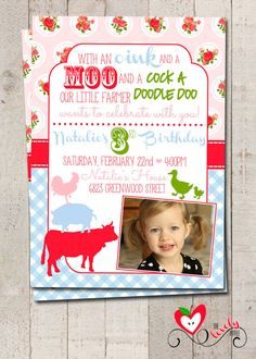 Farm Girl Birthday Invitation DIY Printable Girl by thelovelyapple, $15.00